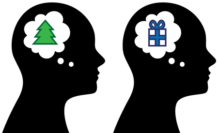 Vector illustration of person head with thought or speech bubble thinking about Christmas