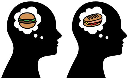 Vector illustration of person thinking about unhealthy food
