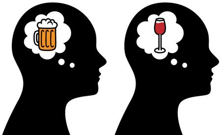 Vektorillustration des Mannes denkend an Alkohol-, Bier- und Weingetränke Standard-Bild - 90850347