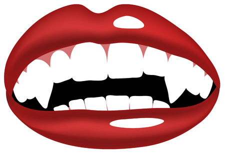 Vector illustration of vampire, smiling mouth with vampire teeth. Illustration