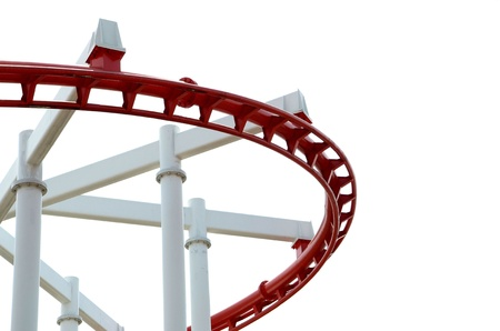 The red roller coaster on a white background Stock Photo