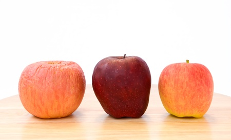 Three apples, Three type, Fresh, ripe, wrinkled, on wooden table and white background
