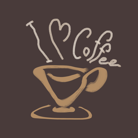 brushed coffee cup with smoke word I Love Coffee