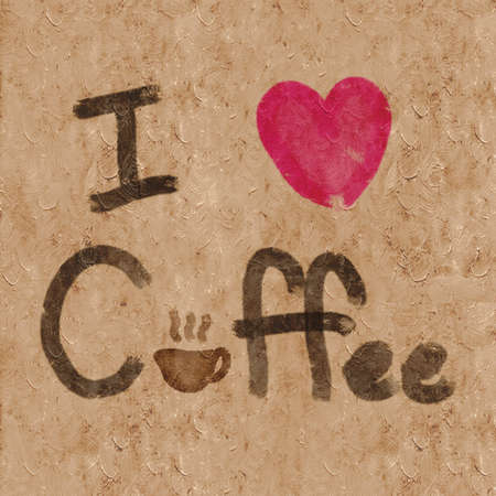 Design word I Love Coffee Background with canvas paper texture, illustration Stock Photo