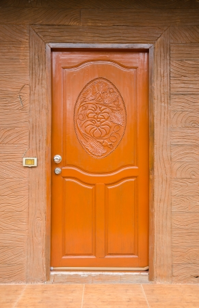 Closeup oriental wooden doors. Stock Photo