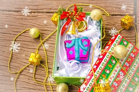 Christmas gift box with snowflake.