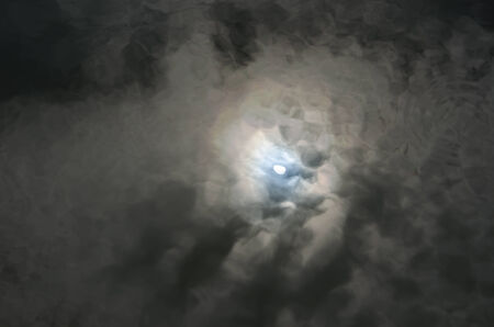 premonition: Reflection of the moon on black river, cloudy day. Stock Photo