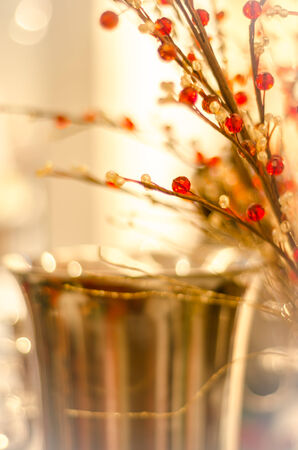 Flowers made of beads decoration, bokeh background. Stock Photo