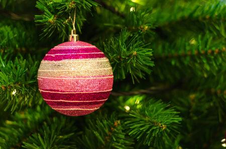 Closeup christmas decoration hanging on a christmas tree.