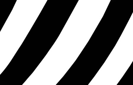 background is covered in diagonal stripes, black and white.