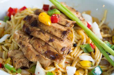 olio: Aglio Olio Chicken Pasta Stock Photo