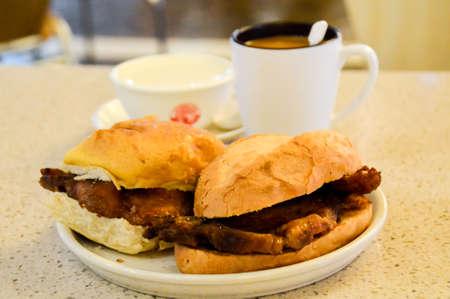 foodies: Park chop bun for breakfast Stock Photo