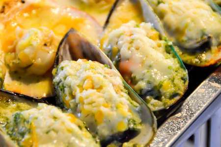 foodies: Green Mussels Stock Photo