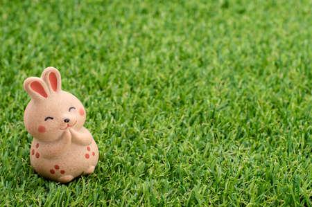 decorative item: Decorative item - Japanese happy rabbit praying on the grass