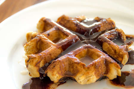 topping: Waffle with chocolate topping Stock Photo