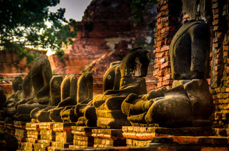 imperfect: Imperfect buddha statues in Wat Mahathat, Ayutthaya Historical Park Siam