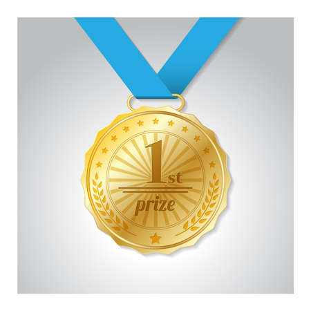 Gold medal, first place, in vector