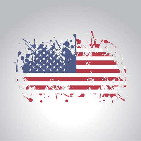 american flag in artistic version in vector