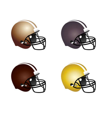 American football helmet in vector with 4 colors