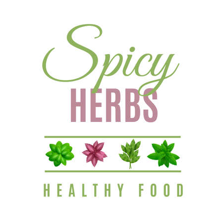 spicy herbs, vegan friendly leaves label in green color