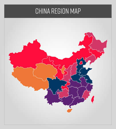 china map, colorful map in vector
