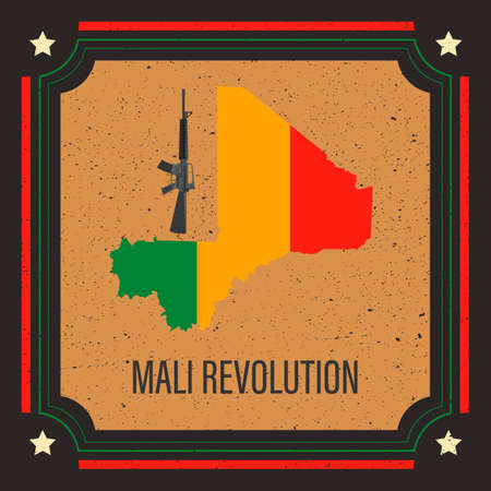 illustration on the military coup in Mali, in vector