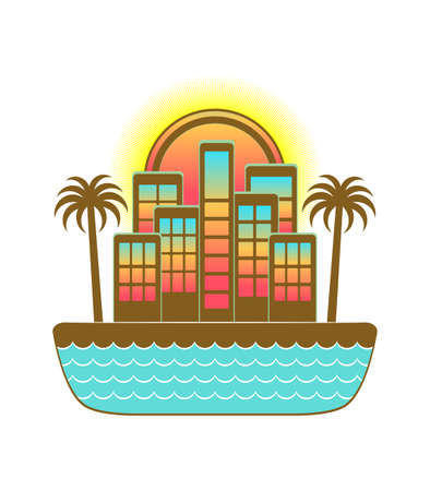 tropical island concept in vector with a very colorful city Illusztráció