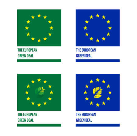"""European label """"the european green deal"""" for the reduction of greenhouse gases, in vector"""