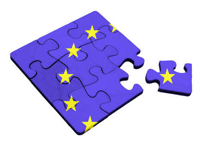 EU Crisis Concept: Incomplete EU Flag Wooden Jigsaw Puzzle With Missing Piece. White isolated background. 3D illustration.