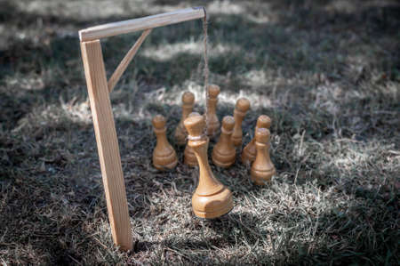 The pawns were executed by hanging their king in a noose on the gallows. The concept of revolution, uprising, assassination of the king, rebellion, violent change of power.