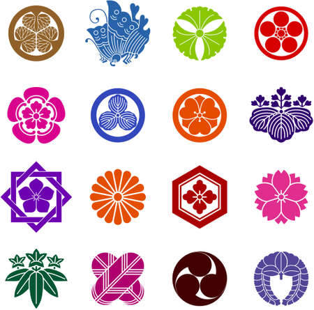 Family crest   kamon  is a traditional emblem of Japan  Illustration