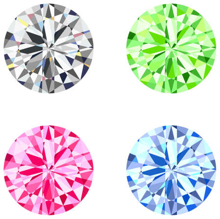 This illustration shows the round brilliant cut diamond  Vector