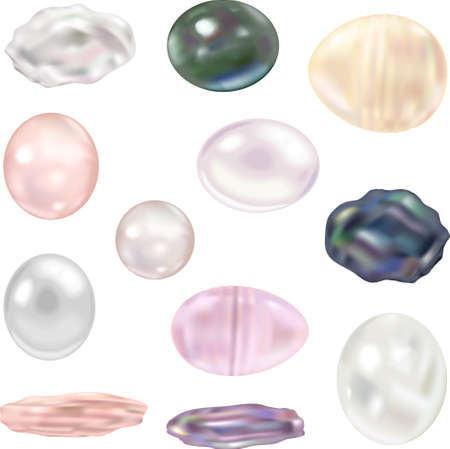 birthstone: This illustration is a set of freshwater pearls
