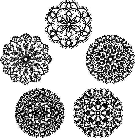 This illustration shows the pattern of lace doily