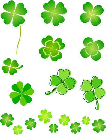 four leaved: This illustration is a set of four leaf clover.