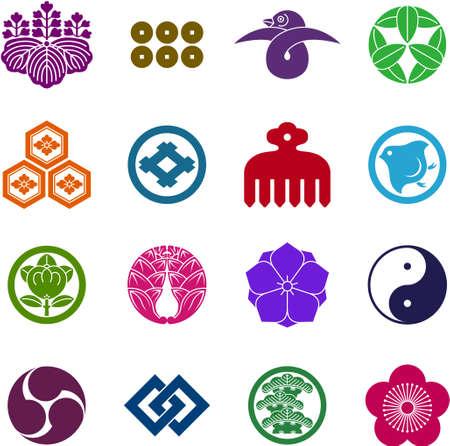 この図は日本の家紋のセットです。