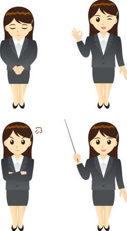This illustration is a female office worker in Japan. Vector