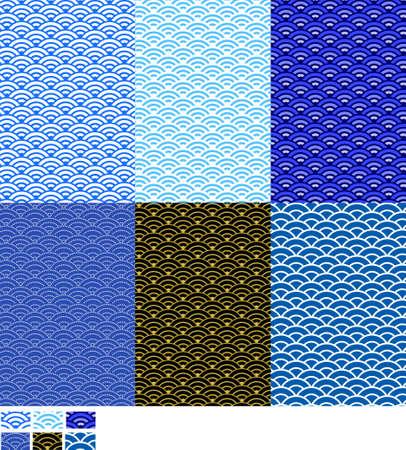このパターン (青海波) は古代日本パターンで海の波を意味するので従来のパターンが使用されています。  イラスト・ベクター素材