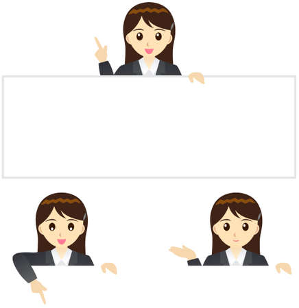 gray suit: This illustration is a female office worker in Japan.