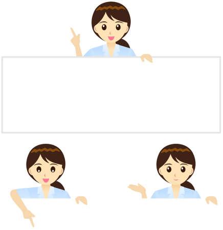Deze illustratie is een vrouwelijke kantoormedewerker in Japan.