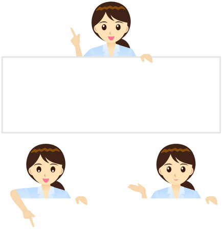 guide board: This illustration is a female office worker in Japan.