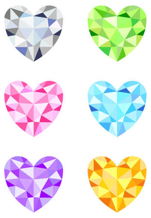 Heart shaped Diamonds Vector