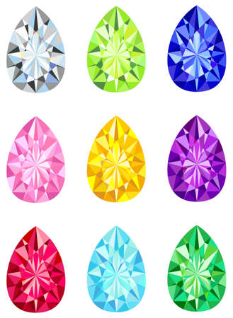 Pear shaped brilliant cut diamonds Vector