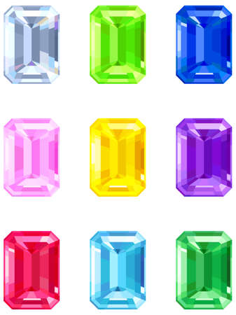 Square cut gemstones Vector