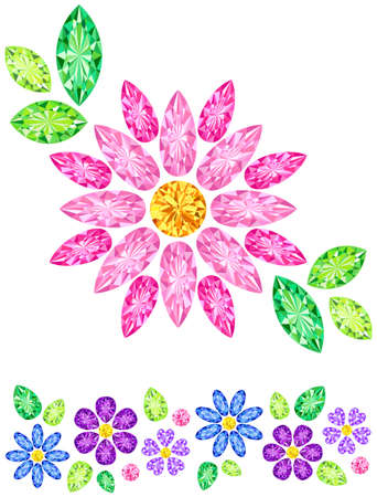 peridot: Jewel was placed in the form of pink flowers Illustration