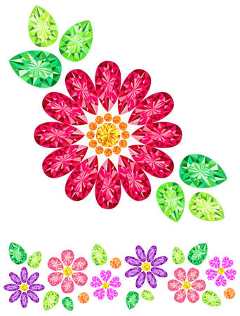 Jewel was placed in the form of red flowers Vector