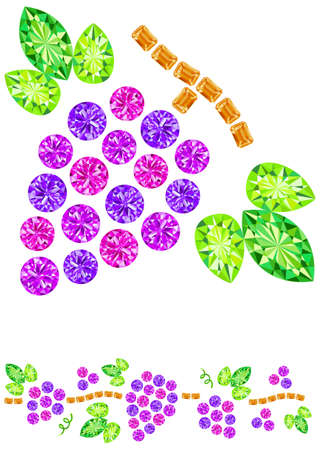 peridot: Gems arranged in the form of grapes