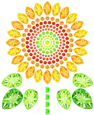 Jewel was placed in the form of sunflower Vector