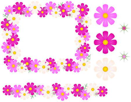 コスモスの花 - フレーム、ライン