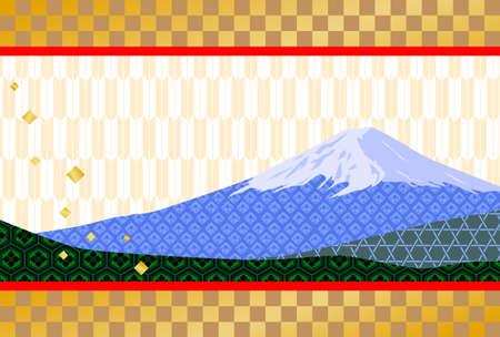 新年のカード - 富士山  イラスト・ベクター素材
